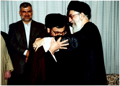 Hezbollah Secretary General Hassan Nasrallah (L) embracing and showing deference to Iranian Supreme Leader Ayatollah Khamenei (R)